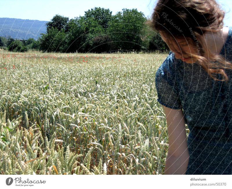 in der natur Natur Mädchen Himmel blau Sommer Feld Kleid Ähren
