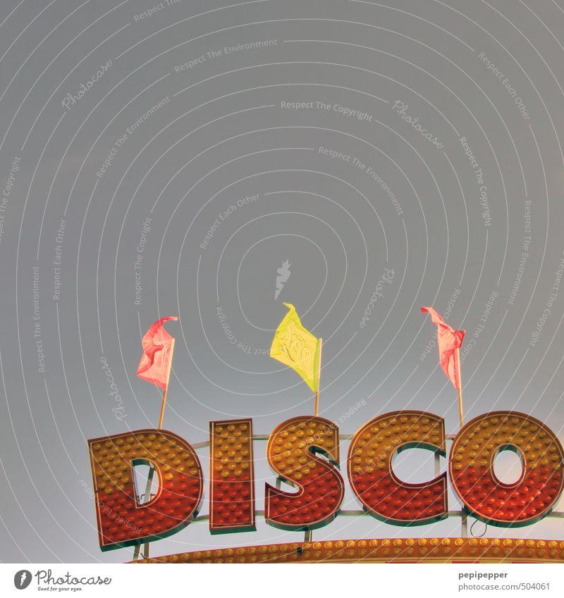 eine eng mit der funkmusik verwandte stilrichtung der popmusik rot gelb Gebäude Feste & Feiern Party Musik glänzend Tanzen Schriftzeichen retro Zeichen Fahne Club Disco Diskjockey Ornament