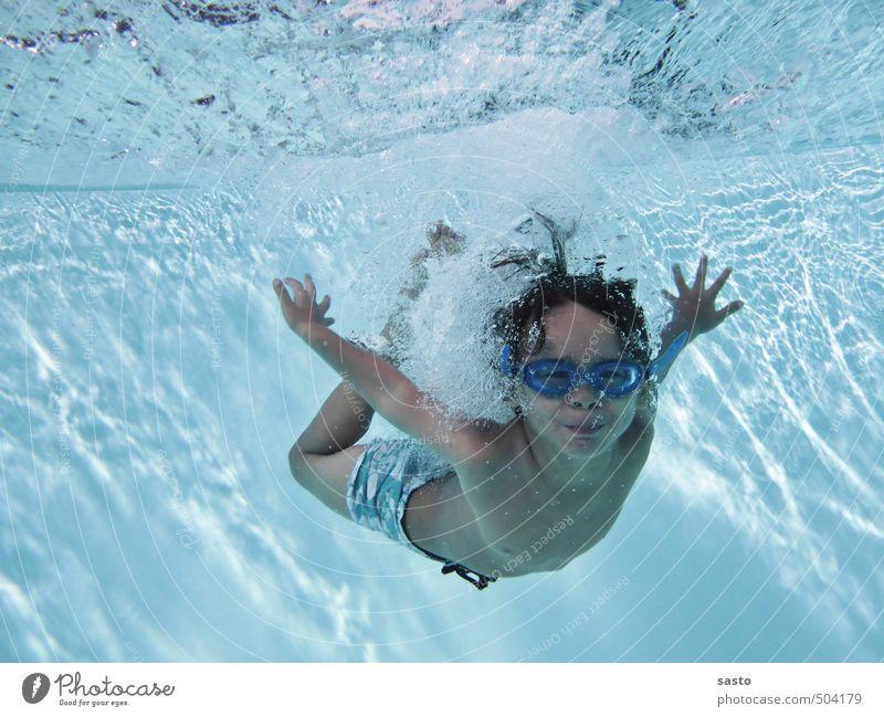 Pooldiver Mensch Kind Ferien & Urlaub & Reisen blau Sommer Sonne Freude Leben Junge maskulin Kindheit Tourismus Schönes Wetter frisch nass Fröhlichkeit