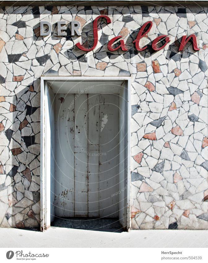 Der Salon blau alt schön weiß rot Wand Mauer Gebäude Stil Fassade Tür geschlossen Schriftzeichen retro Ladengeschäft Wohnzimmer