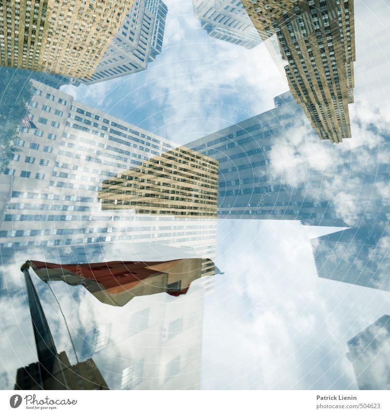 Hochstapler (Teil 2) Stadt Gebäude Glück Zufriedenheit Ordnung Hochhaus Erfolg fantastisch Zukunft Unendlichkeit Netzwerk Bauwerk USA Fahne Bankgebäude