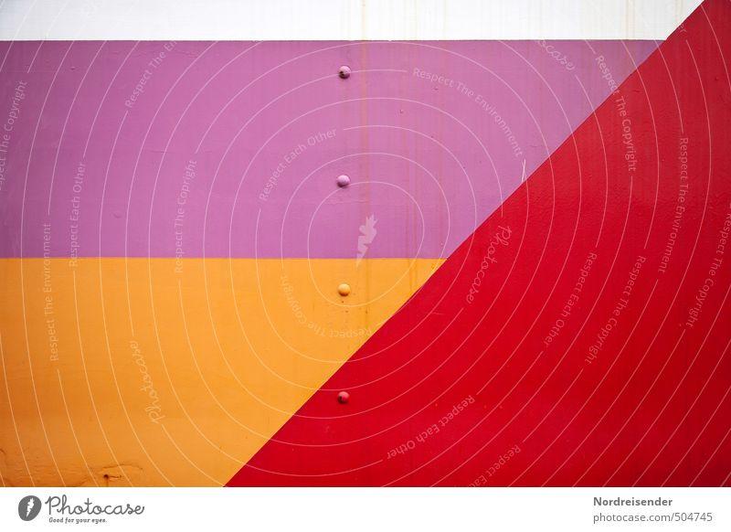Textfreiraum (genietet) Metall Zeichen Ornament Linie Streifen Fahne mehrfarbig Farbe Niete Strukturen & Formen Hintergrundbild Geometrie Phantasie Tangram
