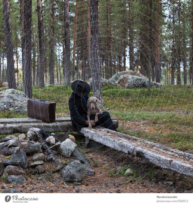 Landstreicher Hund Mensch Ferien & Urlaub & Reisen Mann Erholung Tier Wald Erwachsene Wege & Pfade Freundschaft Zufriedenheit Kommunizieren Pause Sicherheit