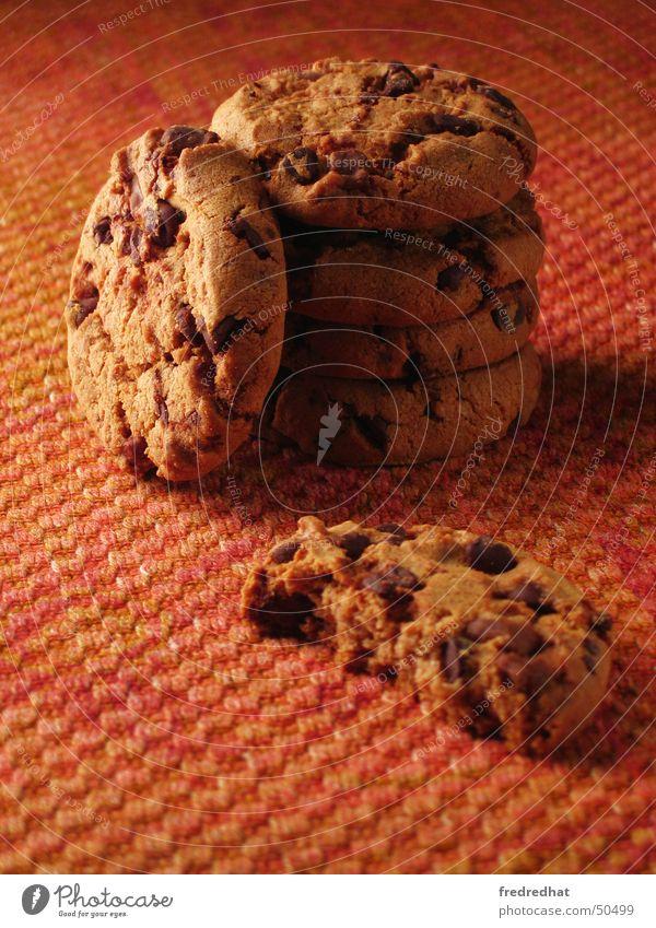 Cookies Keks Plätzchen lecker süß Süßwaren Kalorie Schokolade Backwaren knusprig ungesund verwöhnen Physik Snack Mehl Ernährung rund Nahaufnahme Wärme Stapel