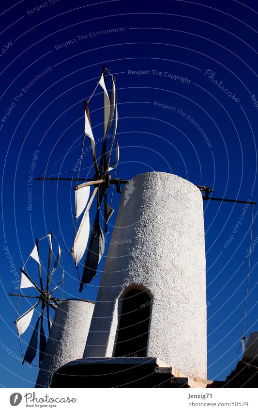 Windmühlen auf Kreta. Himmel weiß blau Ferien & Urlaub & Reisen Griechenland zerkleinern Mühle
