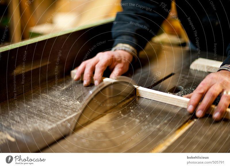Handwerk Basteln heimwerken Handwerker Holzarbeiten Säge Holzbrett Berufsausbildung Mensch maskulin Mann Erwachsene 1 Arbeit & Erwerbstätigkeit bauen festhalten