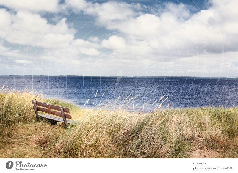 take a seat Ferien & Urlaub & Reisen Sightseeing Bank Natur Landschaft Urelemente Küste Nordsee Meer Insel Erholung sitzen ruhig Einsamkeit Frieden Pause Ferne