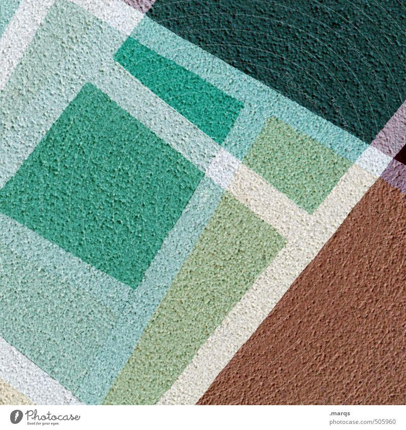\\/ Lifestyle elegant Stil Design Mauer Wand Linie Coolness eckig trendy modern braun grün weiß Farbe Irritation Doppelbelichtung Farbfoto Außenaufnahme