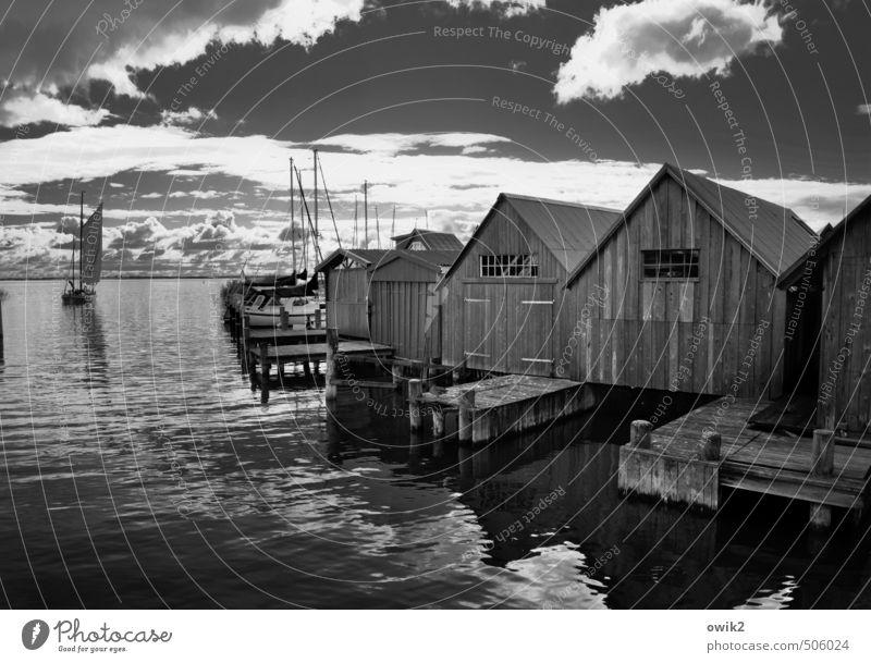 Zeesboot vor Ahrenshoop Himmel Natur Wasser Wolken Ferne Holz Freiheit Horizont glänzend frei elegant Idylle Ausflug Klima Schönes Wetter Abenteuer