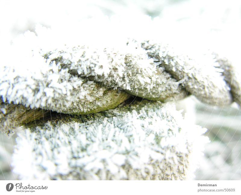 Schneeseil Winter kalt Eis hell Seil Coolness Frost Schnellzug Überbelichtung