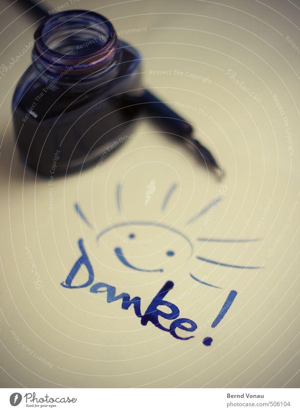 für alles! blau Sonne schwarz gelb braun Glas Schriftzeichen nass Papier Freundlichkeit positiv trocknen grinsen danke schön Zettel Mitteilung
