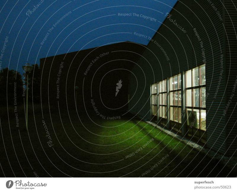 Nachtschicht Fabrik Fenster Gras Wiese Licht Unternehmen Arbeit & Erwerbstätigkeit