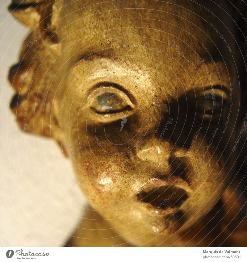 Engerling alt Holz Kopf Religion & Glaube Kunst Engel Kultur streichen Statue Christentum Angelrute Halterung Holzmehl Patina Bildhauer geschnitzt
