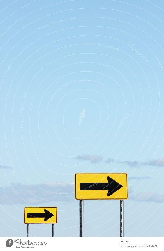 Senfgeber Himmel Schönes Wetter Verkehr Verkehrswege Verkehrszeichen Verkehrsschild Schilder & Markierungen rechts Metall Zeichen Hinweisschild Warnschild gelb