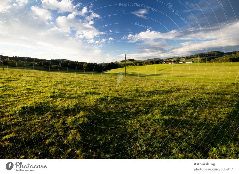 Hügelland Himmel Natur blau grün weiß Pflanze Sommer Baum Landschaft Wolken Wald gelb Umwelt Wärme Wiese Gras