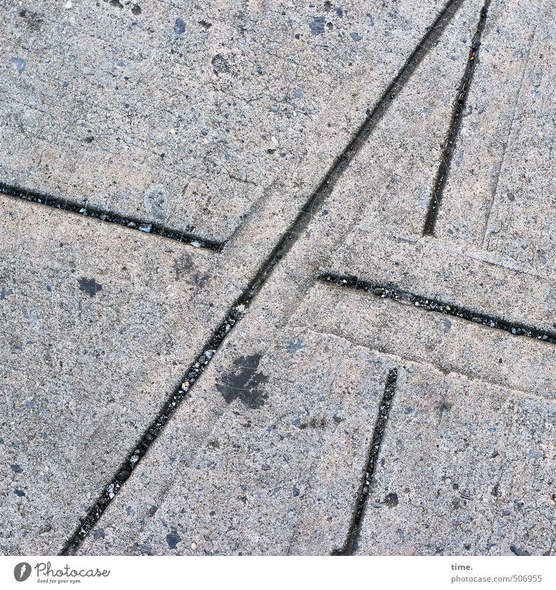 Straßenmathe Stadt Wege & Pfade Linie Kunst Verkehr Ordnung Beton trocken Bürgersteig Verkehrswege Partnerschaft Irritation skurril trashig Fleck