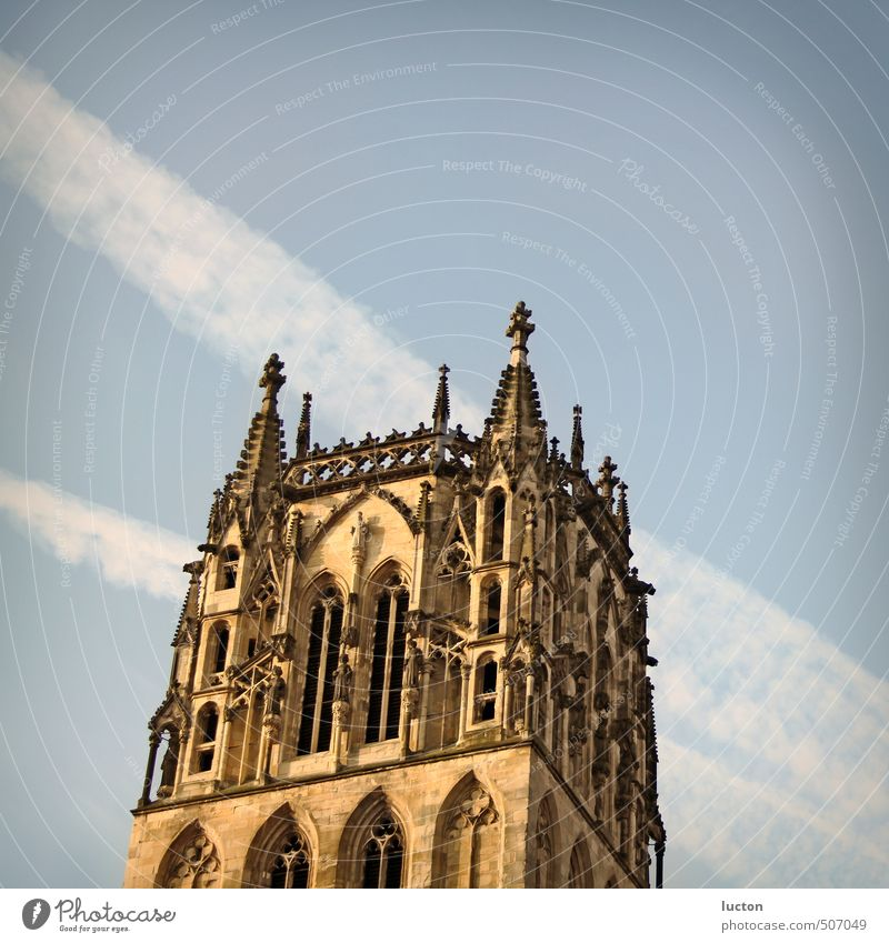 Überwasserkirche Himmel blau Stadt Sonne ruhig schwarz gelb Gebäude Religion & Glaube Stein braun Freizeit & Hobby Fassade Tourismus Schönes Wetter Ausflug