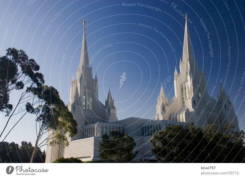 Twin Spires Himmel weiß Baum grün blau Gebäude 2 Religion & Glaube Architektur gold Spitze Gotik Tempel Gotteshäuser Trompete
