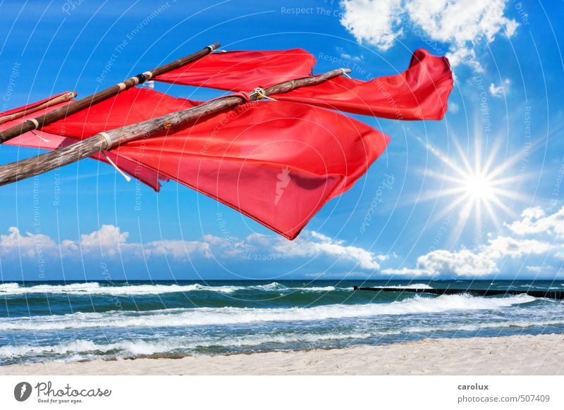 Rote Signalfahnen am Ostseestrand Natur Ferien & Urlaub & Reisen Sommer rot Erholung Einsamkeit Strand Deutschland Wind Europa Kreativität wehen