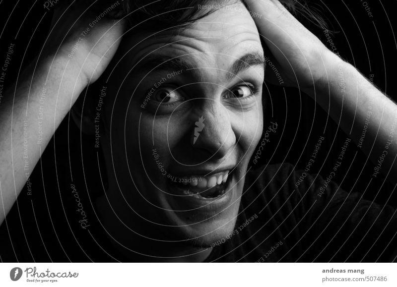 Aargh Mensch Jugendliche Junger Mann 18-30 Jahre Erwachsene Gefühle Kopf maskulin verrückt bedrohlich Wut Zukunftsangst Leidenschaft Konflikt & Streit Stress Irritation