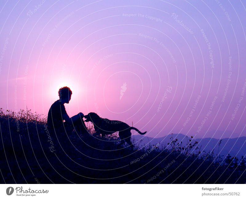 Beste Freunde! Freundschaft Abenddämmerung Sonnenuntergang Zuneigung Hund Vertrauen Berge u. Gebirge Mensch Freiheit Leben alpenglühen Schatten Einsamkeit
