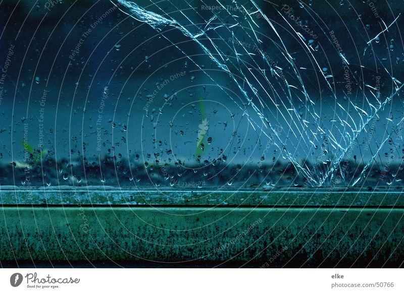 sprunghaft Wasser springen Regen Glas Wetter Riss Glasscheibe zerspringen