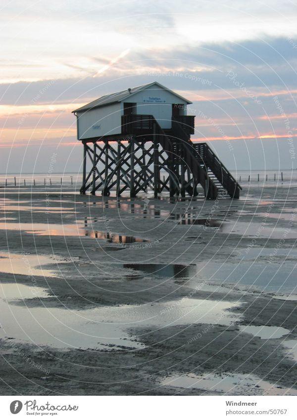 Pfahlbau Wasser Ferien & Urlaub & Reisen Meer Strand Wolken Haus Ferne Freiheit Sand Küste Horizont Ausflug Treppe Tourismus Idylle Nordsee