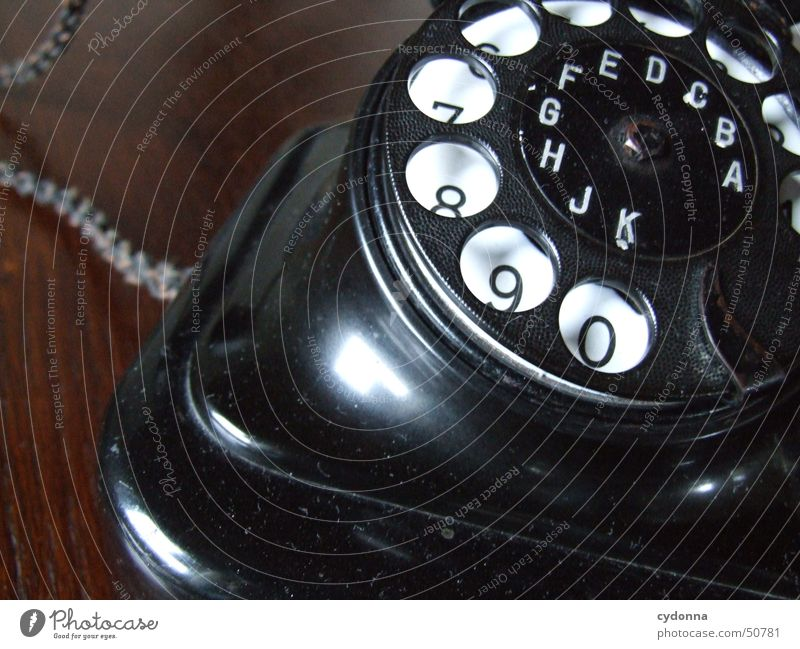 altes Telefon schwarz Dinge Kommunizieren retro Ziffern & Zahlen Nostalgie vergangen altmodisch Wählscheibe
