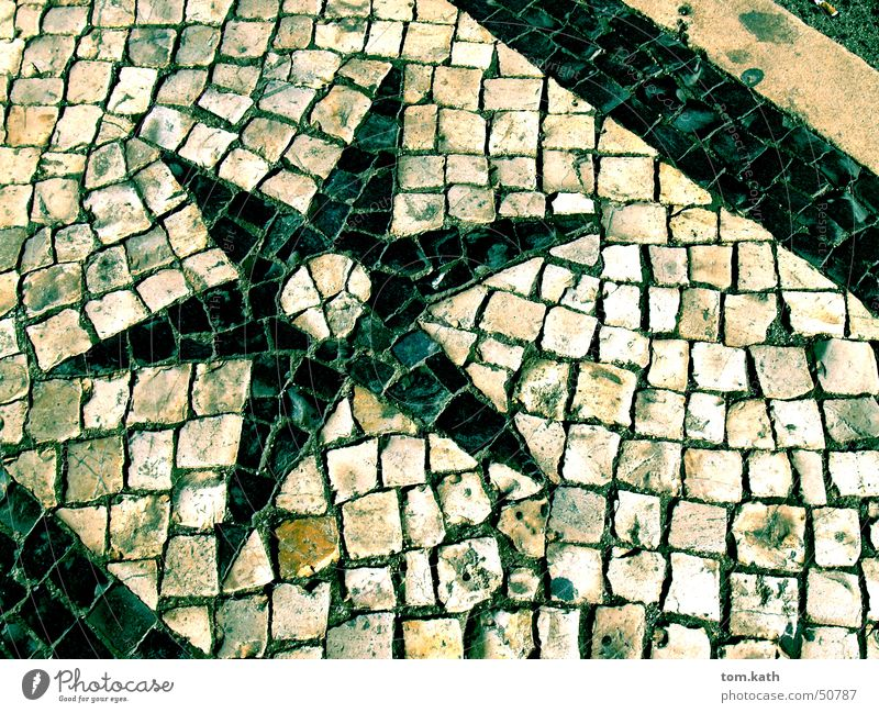 Stern Stein Stern (Symbol) Kopfsteinpflaster Pflastersteine Lissabon Portugal