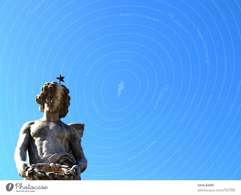 Engel Himmel blau Stein Angelrute