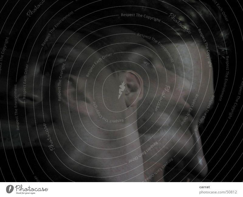 Triple-Me Mann Jugendliche Gesicht schwarz grau Denken Selbstportrait Rostock