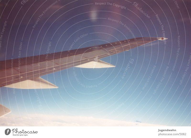 Tragfläche vom Flugzeug Flugzeugausblick Luftverkehr