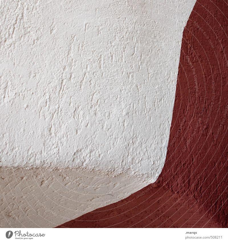 Kante/ Ecke Stil Mauer Wand Beton Linie eckig einfach positiv rot weiß Hintergrundbild Grafik u. Illustration Farbfoto Außenaufnahme Nahaufnahme abstrakt Muster