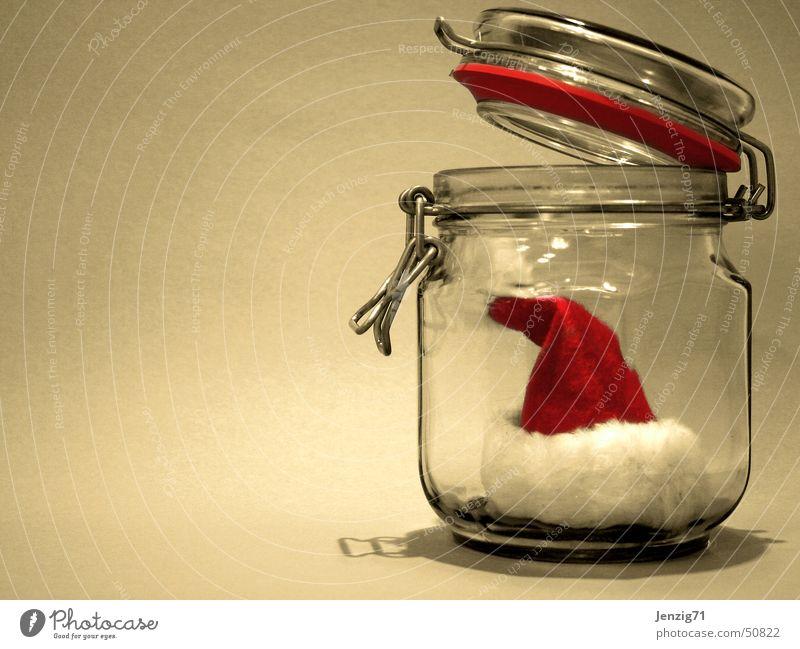 Alle Jahre wieder.... Weihnachten & Advent Glas Weihnachtsmann Mütze Konservendose