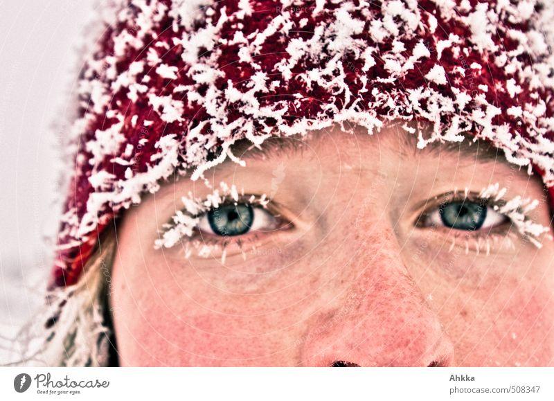 Eisprinzessin Jugendliche schön rot Junge Frau Winter Gesicht kalt Auge Leben Schnee Sport Gesundheit außergewöhnlich Kraft Lifestyle