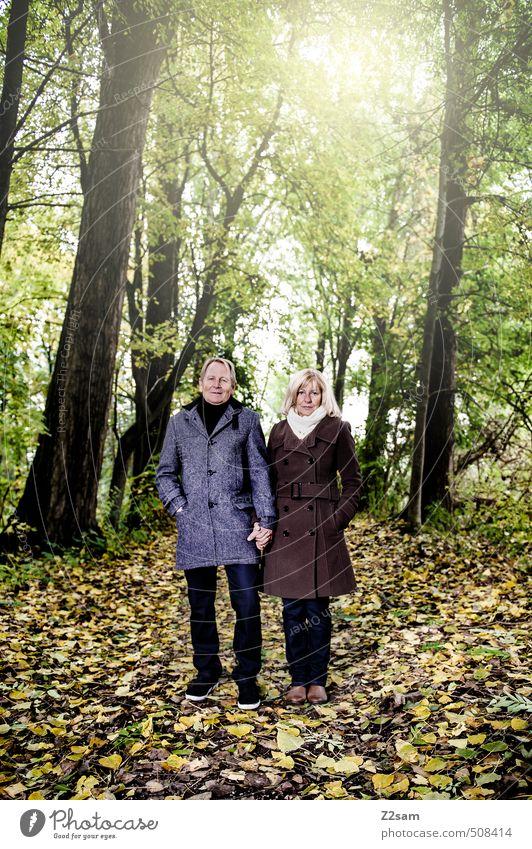 M+D Mensch Frau Natur Mann Sonne Baum Landschaft Blatt Wald Erwachsene Herbst Senior Liebe Gesundheit Paar Zusammensein
