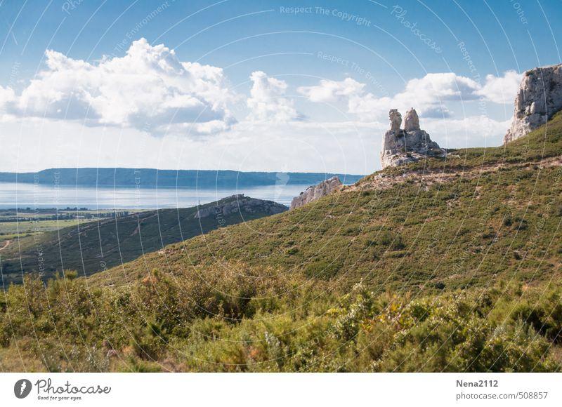 Das versteinertes Pärchen Himmel Natur Ferien & Urlaub & Reisen Pflanze Sommer Sonne Landschaft Wolken Umwelt Berge u. Gebirge Wärme Herbst Stein See Felsen