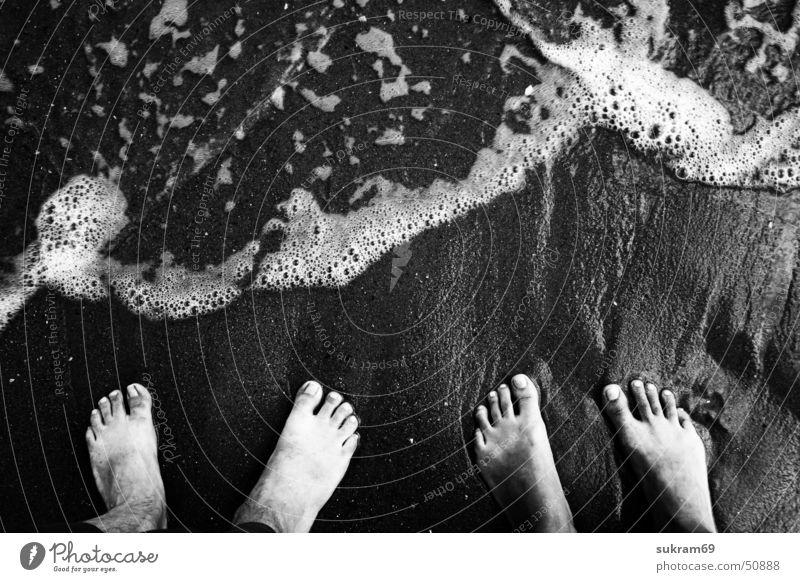 Der Goldstrand Mensch Mann Wasser Ferien & Urlaub & Reisen Meer Strand Sand Beine Paar Fuß Zusammensein gehen dreckig laufen paarweise Perspektive