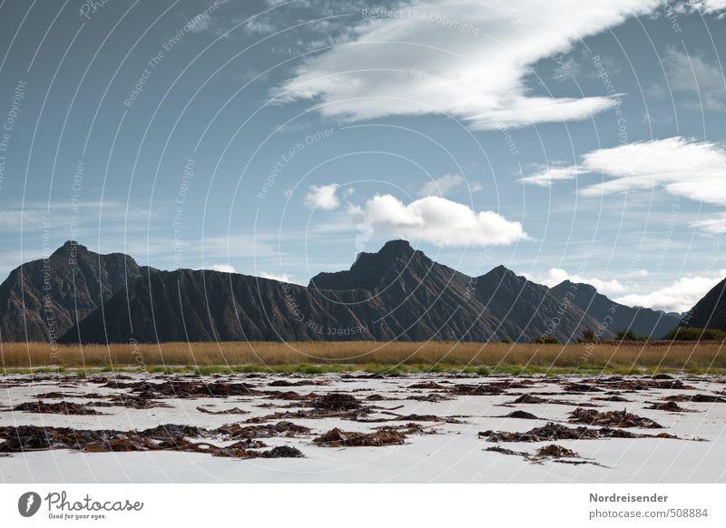Lofoten Ferien & Urlaub & Reisen Sommer Meer Einsamkeit Landschaft ruhig Wolken Strand Ferne Berge u. Gebirge Freiheit Sand Schönes Wetter Ausflug ästhetisch Fernweh