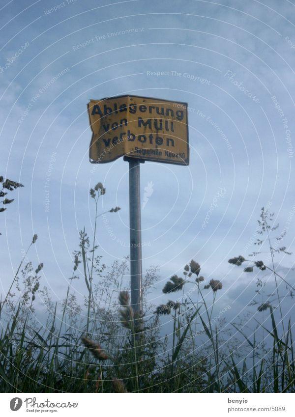 müllschild Müll Schilder & Markierungen Natur