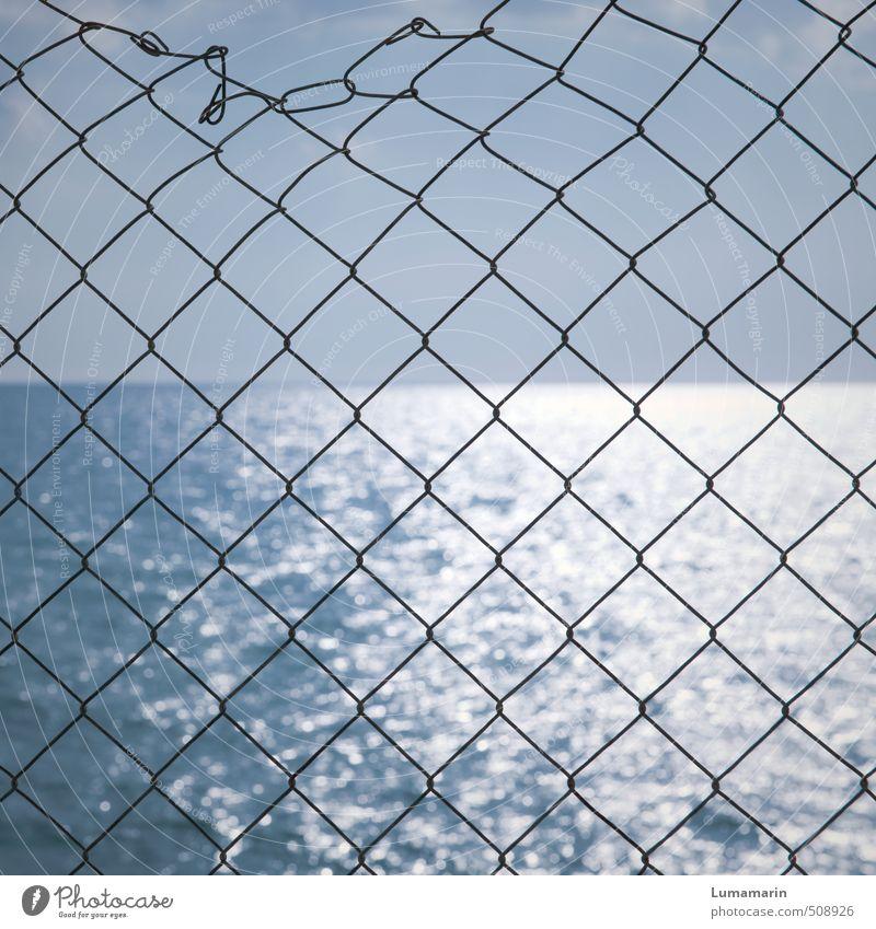 maritim Umwelt Landschaft Urelemente Luft Wasser Wolkenloser Himmel Horizont Schönes Wetter Meer Ferne glänzend groß Unendlichkeit nah blau Freiheit Hoffnung