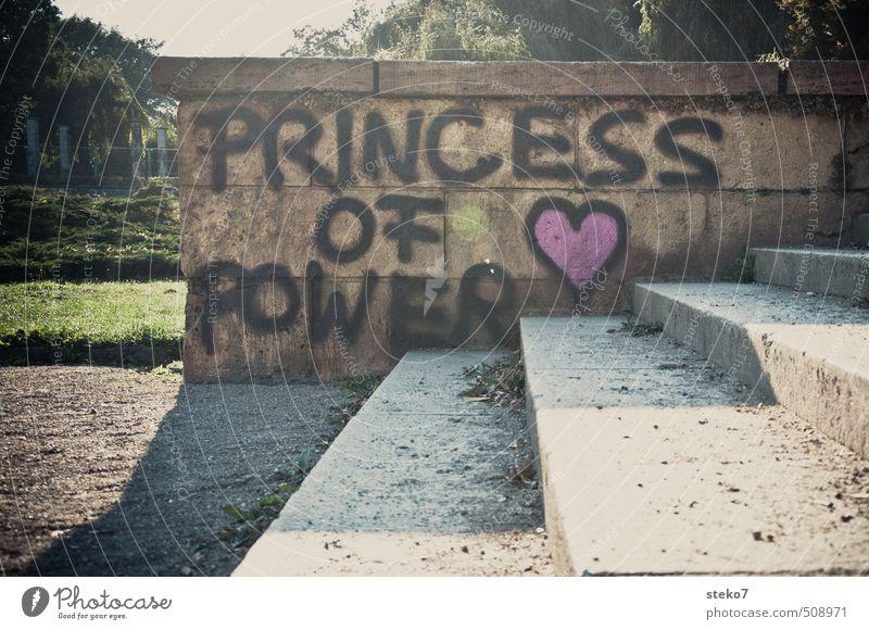 kein Treppenwitz Stadt grün Graffiti Wand Mauer grau rosa Coolness trashig
