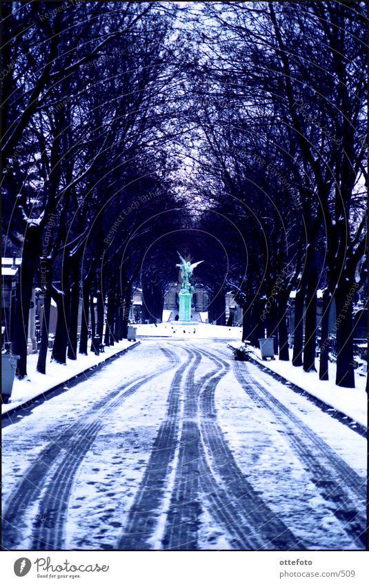 Friedhof Montparnasse / Paris Winter kalt Schnee Traurigkeit Gare de Montparnasse
