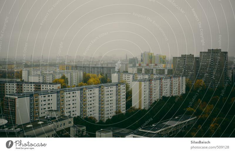 Plattenbauten Nebel bevölkert überbevölkert Haus Hochhaus Gebäude Architektur Fassade Armut Traurigkeit Höhenangst Osten DDR Hochhausbau Berlin Lichtenberg