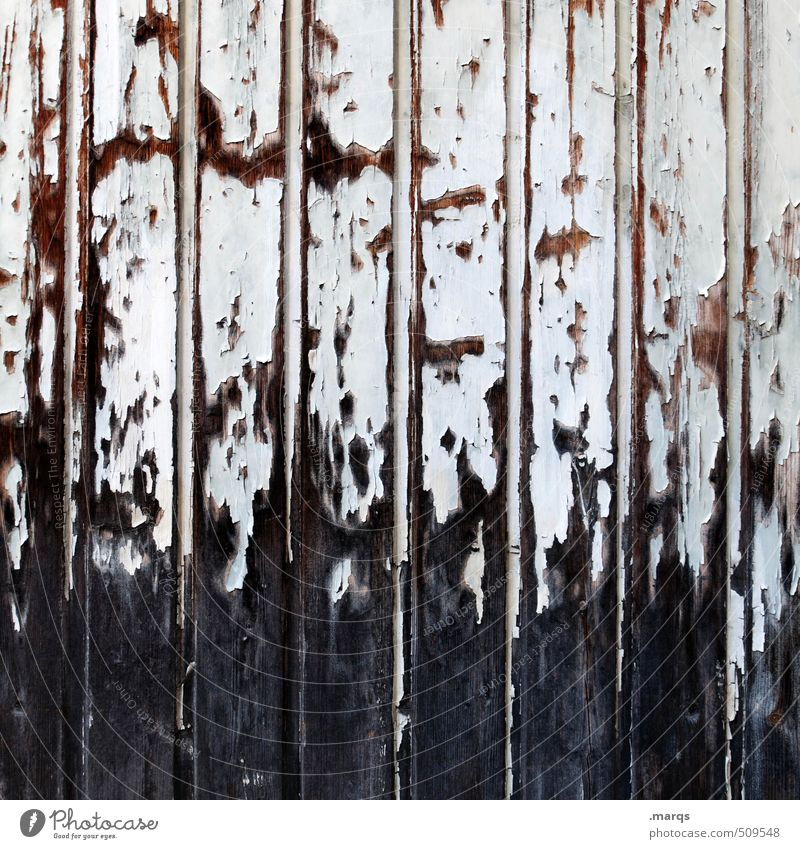 Bretter Stil Design Mauer Wand Holz alt einzigartig kaputt braun schwarz weiß Vergangenheit Vergänglichkeit Lack abblättern Farbfoto Gedeckte Farben