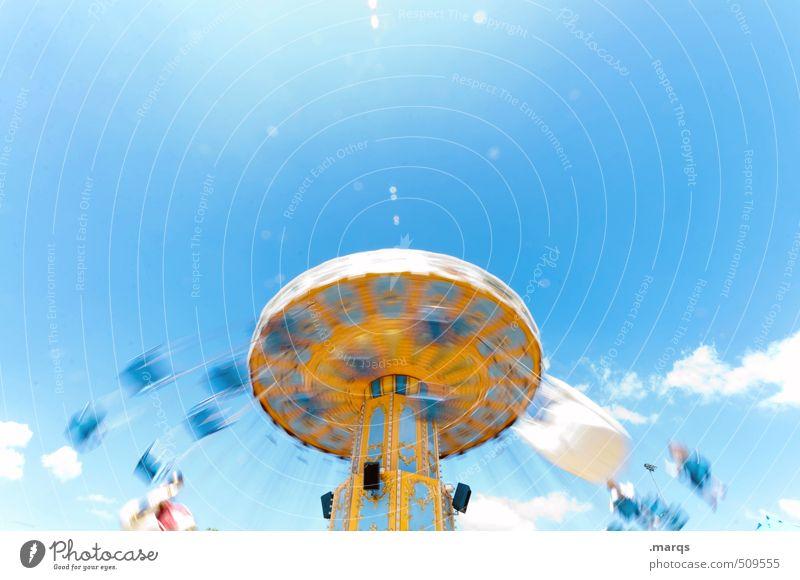 Drehwurm Lifestyle Freude Freizeit & Hobby Ausflug Jahrmarkt Himmel Wolken Schönes Wetter Kettenkarussell Bewegung drehen frei Glück hell trendy positiv