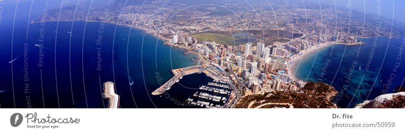 Calpe Sonne Ferien & Urlaub & Reisen Küste wandern groß Aussicht Klettern Hafen Bucht Spanien Panorama (Bildformat) Süden Mittelmeer Costa Blanca