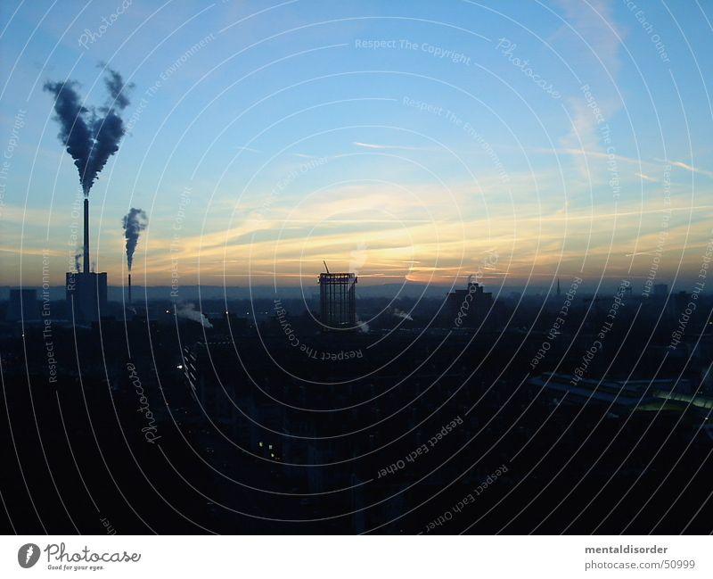 guten morgen Abgas Morgen Sonnenaufgang Köln Industriefotografie Schornstein oben Skyline