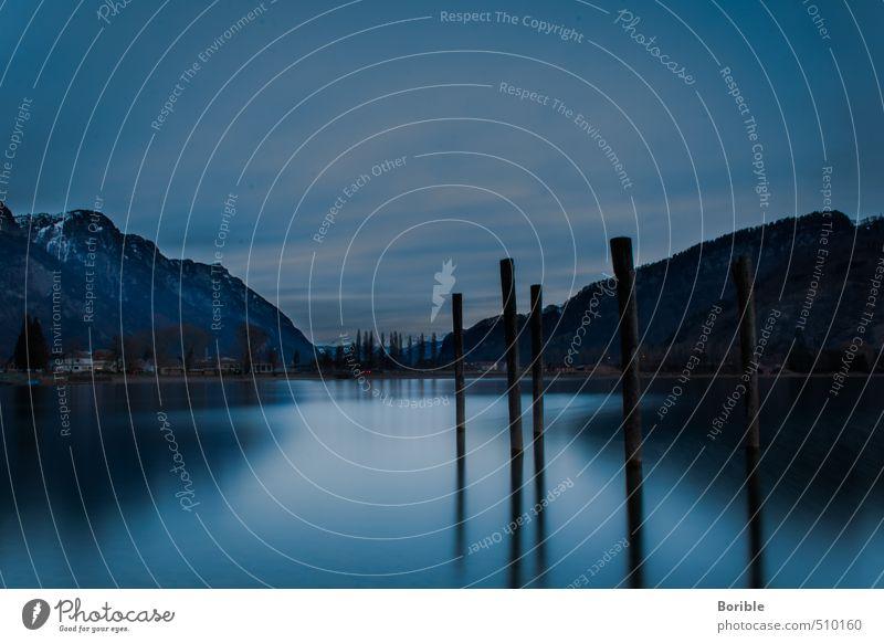 calm Himmel Natur Ferien & Urlaub & Reisen blau Wasser Erholung Landschaft ruhig Wolken Freude Berge u. Gebirge Umwelt Leben Holz Schwimmen & Baden See