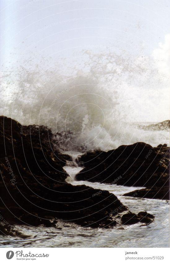 Brandung in Porto, Portugal Wasser Meer schwarz Stein Felsen Brandung Portugal Korsika Atlantik Porto